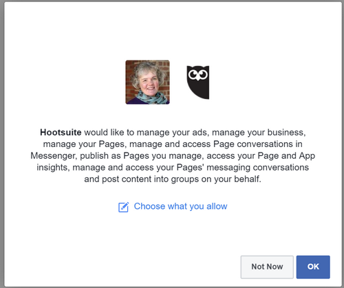 Authorise access to Facebook by Hootsuite