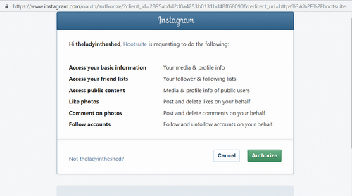 Authorise access to Instagram by Hootsuite