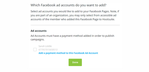 Connect Facebook ad account to Hootsuite