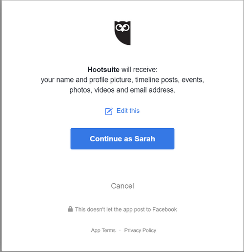 Connect Facebook to Hootsuite