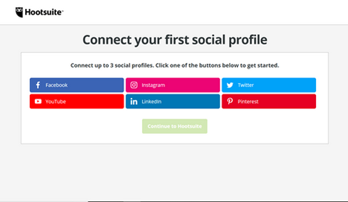 Connect your first social media profile