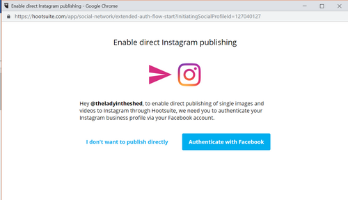 Enable direct posting by Hootsuite to Instagram