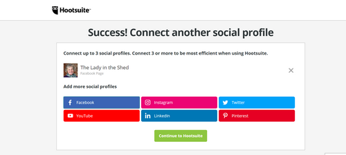 First social profile is connected to Hootsuite
