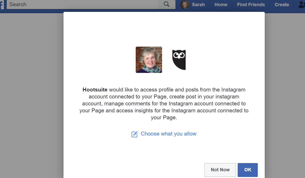 Give Hootsuite access to Facebook to verify your Instagram account