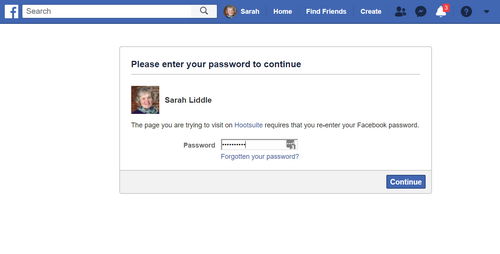 Log into Facebook to authenticate Instagram direct posting by Hootsuite