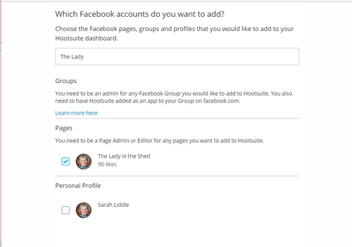 Select the Facebook page to add to Hootsuite