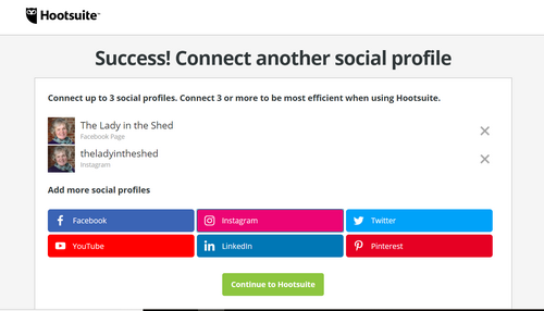Successfully added another social profile to Hootsuite