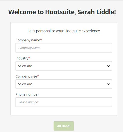 Welcome to Hootsuite screen
